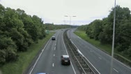 Stock Video Footage of Dual carriageway from footbridge over the road