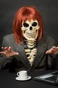 Amusing skeleton with red hair - halloween Stock Photos
