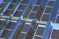 close up renewable green energy photovoltaic solar panel - stock photo