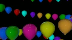 colorfull balloons spiral with alpha - stock footage