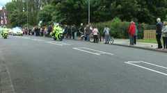 Convoy heading for London with the Olympic Flame, headed by police, Stock Footage