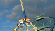 Oktoberfest Germany Munich Beer Festival Carousel roller coaster fairground Stock Footage