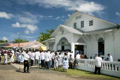 church life - kosrae, micronesia - stock photo