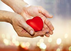 artificial red heart on hands - stock photo