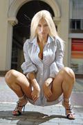 blonde in chemise - stock photo
