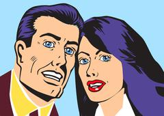 Persons of married couple raster Stock Illustration