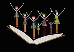 Happy pupils Stock Illustration