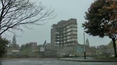 Demolishing Tower Block in Autumn Stock Footage