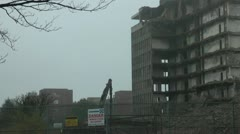 Part Demolished Tower Block Stock Footage