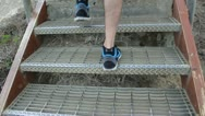 Exercise - hiking stairs on mountain trail hike Stock Footage