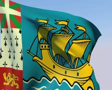 Flag of Saint-Pierre and Miquelon PAL Stock Footage