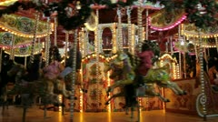 Carousel at night Stock Footage