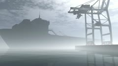 Industrial Port Sunset Sunrise 3D render Stock Footage