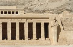mortuary temple of hatshepsut detail - stock photo