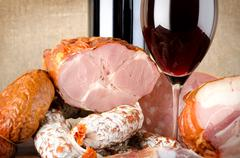 Wine and meat products Stock Photos