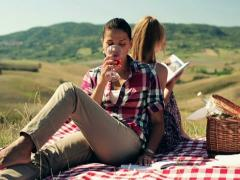 Two girlfriends reading books on picnic, crane shot Stock Footage