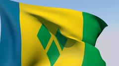 Stock Video Footage of Flag of Saint Vincent and the Grenadines HD