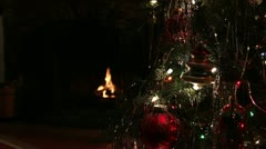 Christmas Tree and Fire Stock Footage