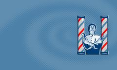 barber with pole hair clipper and scissors retro. - stock illustration