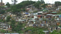 Medium Shot of Shanty Town outside of Durban Stock Footage