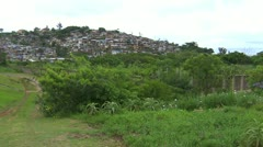 Wide shot of Shanty Town near Durban - stock footage