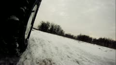 Offroad driving through snow Stock Footage