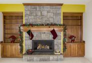 Stock Photo of glowing fireplace for the holidays