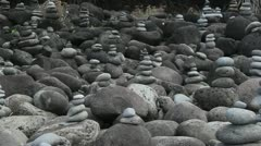 Rock stone art at Hanakapiai beach Stock Footage