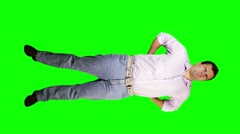 Young Men Back Pain Full Body Greenscreen Stock Footage