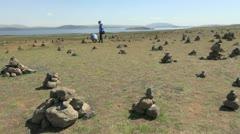 Iceland cairns near Pingvellir 1 - stock footage