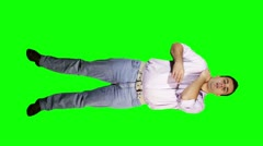 Young Men Shoulder Pain Full Body Greenscreen Stock Footage