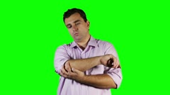 Young Man Elbow Pain GreenScreen Stock Footage