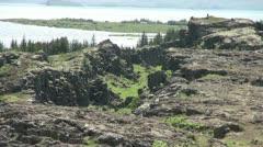 Iceland Pingvellir lake from the lava ridge Stock Footage