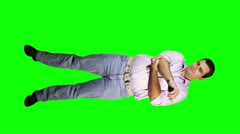 Men Elbow Pain Full Body Greenscreen 720 Stock Footage