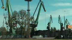 Cranes at gdansk harbour Stock Footage