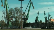 Stock Video Footage of cranes at gdansk harbour