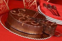 Sacher torte chocolate cake Stock Photos