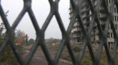 1960's tower block undergoing demolition, Stock Footage