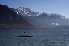 Annecy lake in the morning of france. Stock Photos