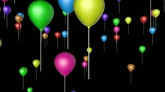 colorfull flying balloons with alpha - stock footage