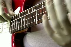 Gloved Hand Bass Player Stock Footage