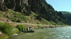 Fly Fishing on Lower  Madison River in Montana in Canyon Stock Footage