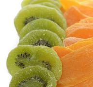 dried kiwi and mango fruits - stock photo