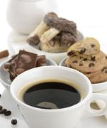 coffee and sweets - stock photo