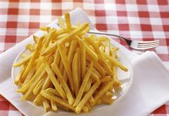 French Fries on a Plate - stock photo