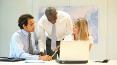 Business people working on international project Stock Footage