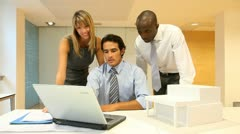 Team of architects working in the office Stock Footage