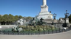 statue of the girondins, esplanade des quinconces, bordeaux - stock footage