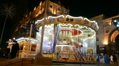 Carousel (roundabout) on central street in Kiev, Ukraine, Stock Footage