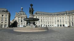 fountain of the three graces, bordeaux - stock footage